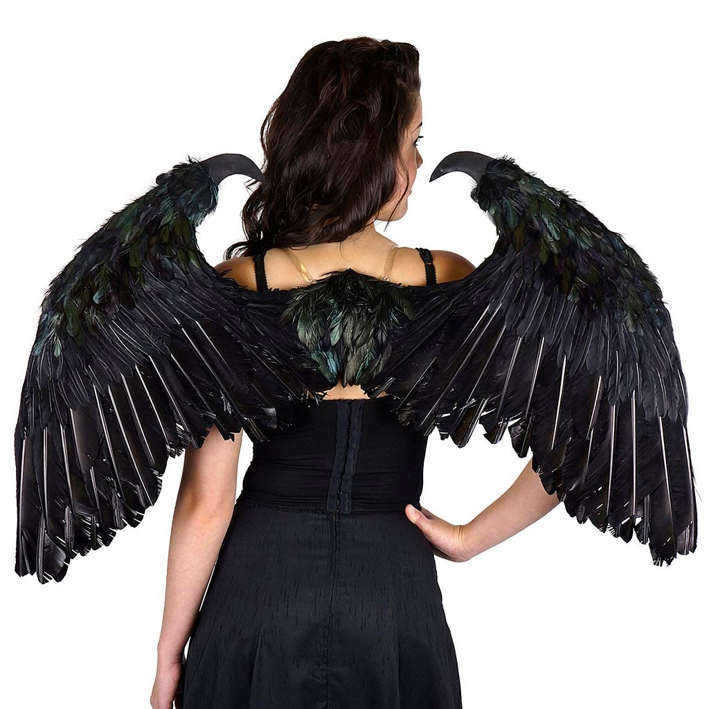 Maleficent Inspired Black Feather Wing Feather Fallen Angel Halloween Costume