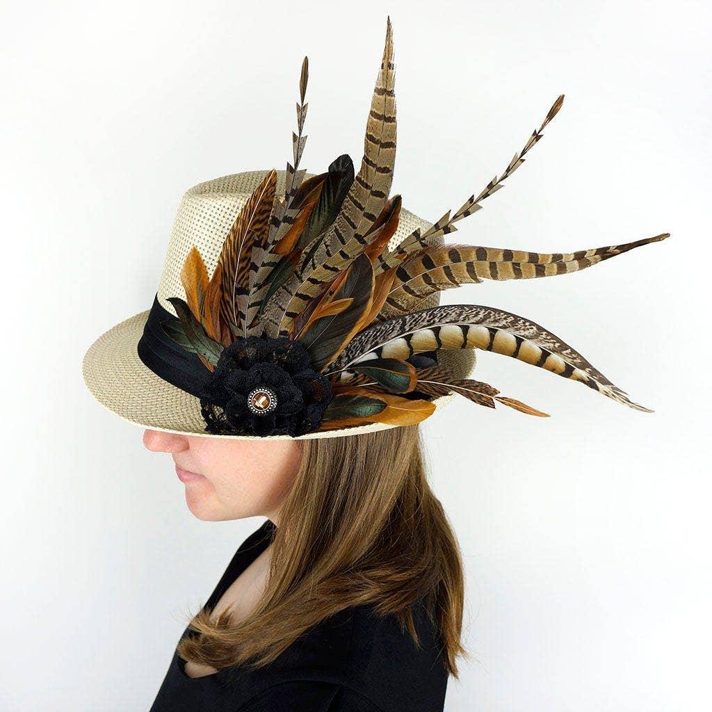 diy feather derby hat