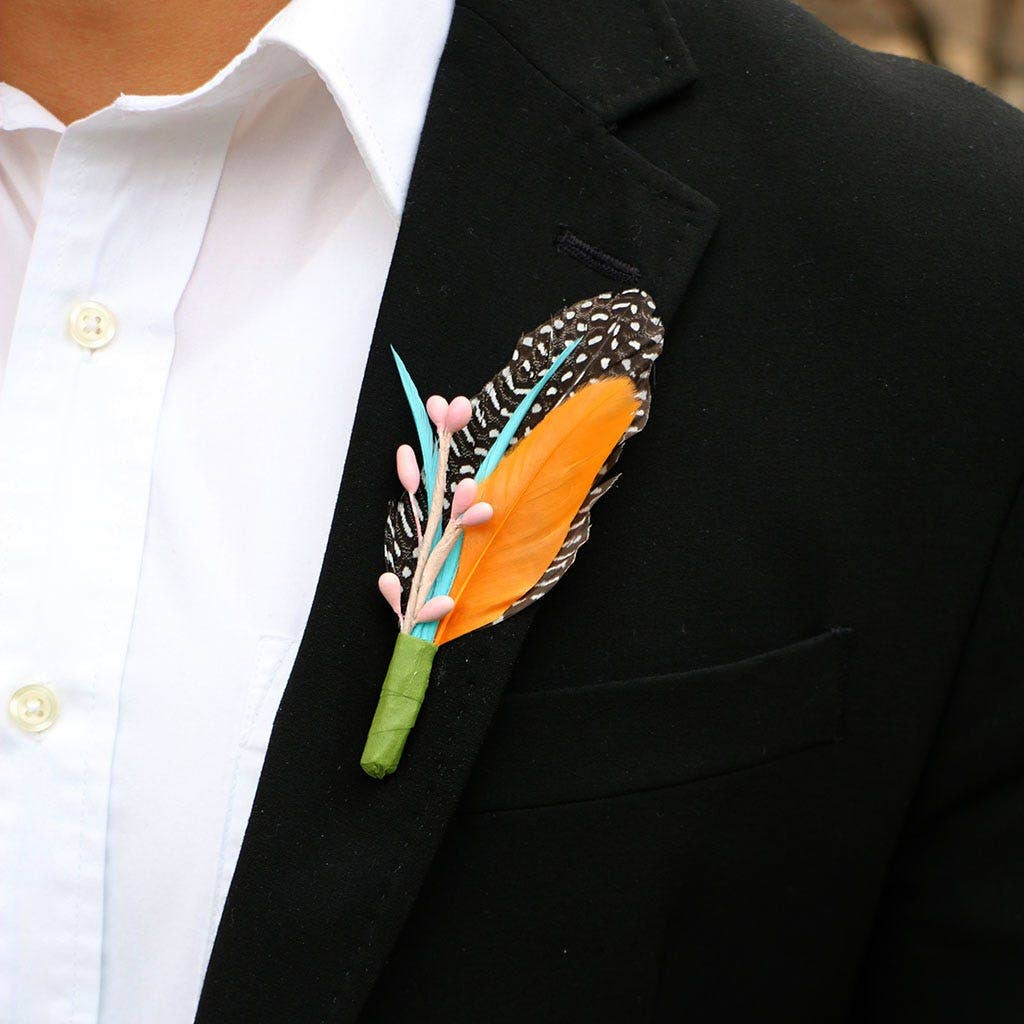 spring feather boutonniere