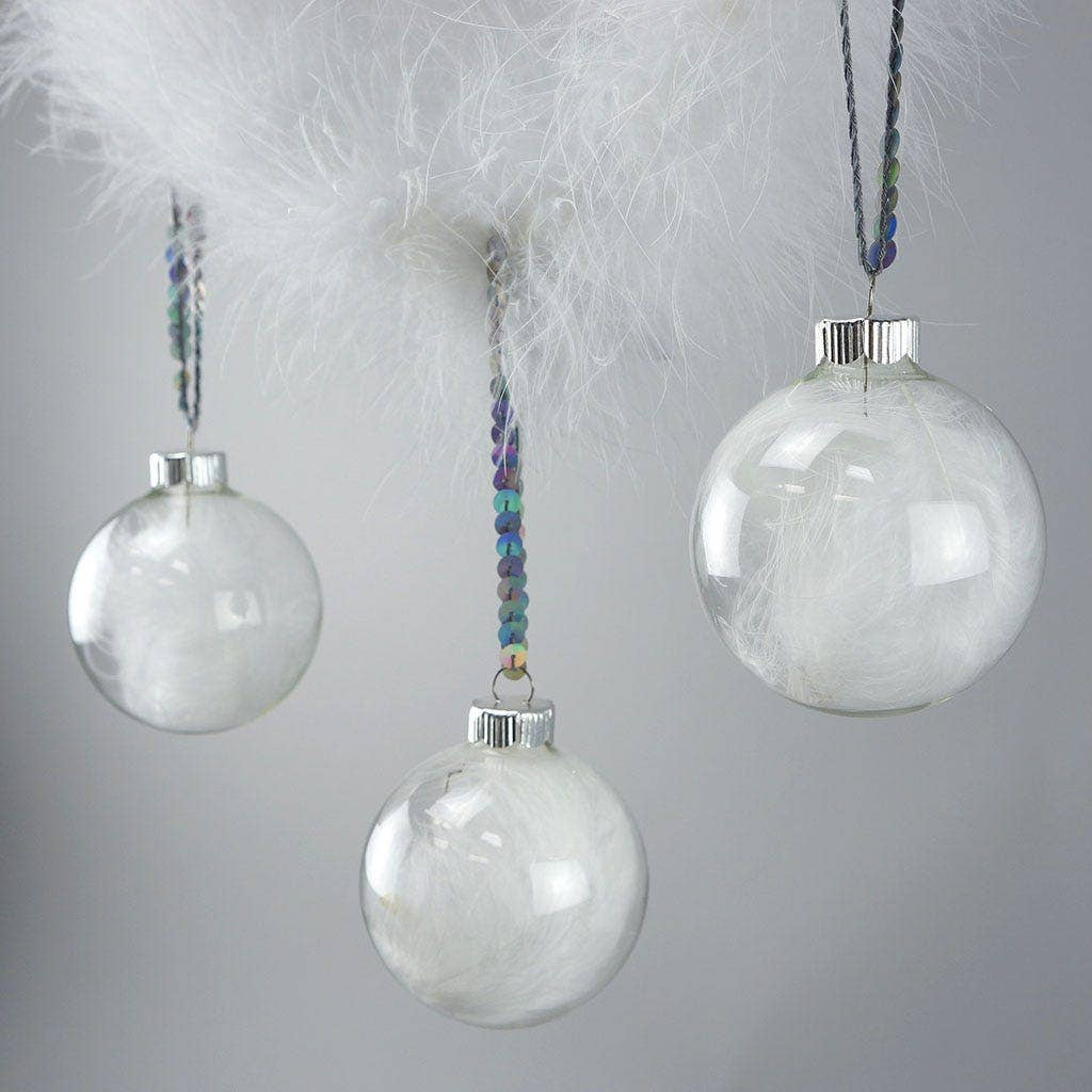 diy white feather glass ornaments